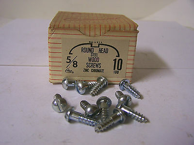 "#10 x 5/8"" Round Head Zinc Chromate Plated Wood Screws Slotted USA Made Qty. 100"