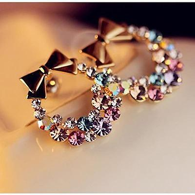 HOT Women NEW Bow Gold Crystal Rhinestone Ear Stud Earrings Fashion