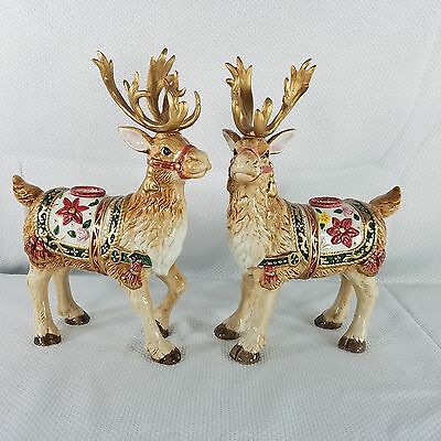 Fitz & Floyd 1995 Father Christmas Reindeer Candleholders Pair Set Retired