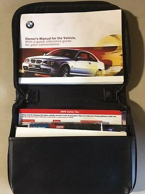 ORIGINAL BMW E46 LEATHER ZIPPERED OWNERS HANDBOOK MANUAL CARRY CASE w/Manuals