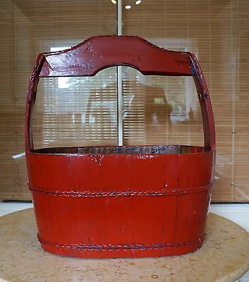 Chinese Antique Lacquered Red Water Bucket Basket