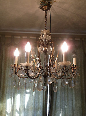 Antique 6 Arm Heavy Crystal Drop Prism Gold Brass Chandelier Made in Austria
