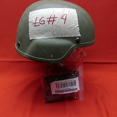 ACH MICH USED Helmet  MSA size LARGE  PADS  Chinstrap green  LG # 4