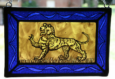 Stained Glass,Hand Painted,Kiln Fired, Heraldic Tiger, #1201 B