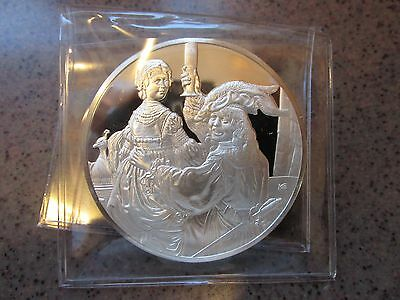 "Rembrandt's ""The Prodigal Son in the Tavern"" Sterling Silver Proof Art Round"