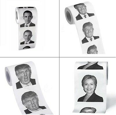 Toilet Paper Roll President Trump Hillary Barack Obama Funny Party Gag Gift