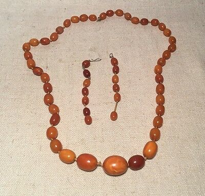 Vintage Antique Butterscotch Amber Graduated Beaded Necklace 67.5 Grams