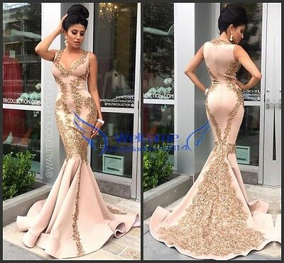Beaded Lace Mermaid Evening Formal Dress V-neck Sexy Celebrity Prom Party Gown