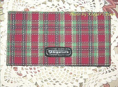 Longaberger Holiday Plaid Checkbook Cover With Photo Sleeve New Tags Retired