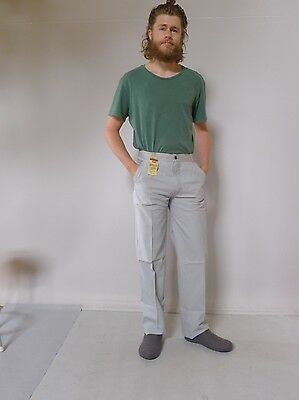Vintage retro true 70s 4 S unused Levi's mens high waisted pants light grey