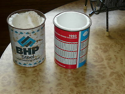 2x BHP Vintage Tin Beer Cooler Official Production Period Calendar Stubby Holder