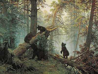 Home Fun art wall decor bear in the woods oil painting Printed on canvas