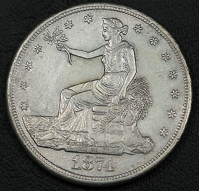 United States 1874 S $1 Trade Dollar Silver Coin XF+ San Fransisco Mint