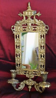 Antique Baroque Nouveau BRASS KOI DOLPHIN Crystal WALL SCONCE Candle Mirror