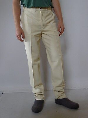 Vintage retro true 1980s L 36 unused yellow linen mens pants Lois narrow leg