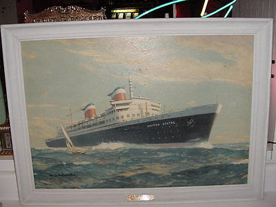 "SS UNITED STATES LINES 1952 ""Aylward""Framed Hardback Print / Excellent Condition"