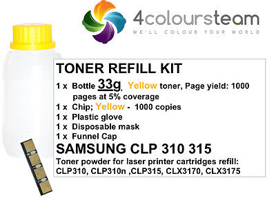 33g TONER REFILL YELLOW RESET CHIP FOR SAMSUNG CLP 310 315 CLX 3170 3175