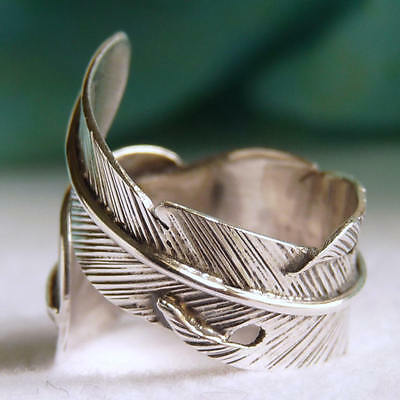 US 5 to 9 (Adjustable) ~ SilverSari 'FEATHER' Boho Ring ~ 925 Sterling Silver