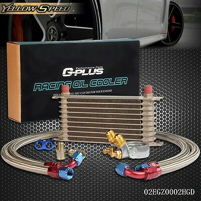 UK GPLUS 10 ROW Thermostat Adaptor Engine Racing Oil Cooler Kit For CAR/TRUCK GD