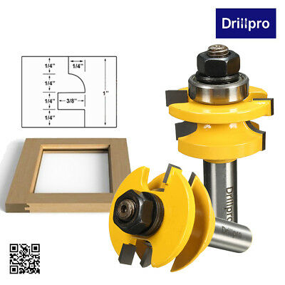 Drillpro 2x Rail & Stile Router Bit Set 1/2'' Shank Woodworking Chisel Cutter