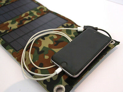 New Camouflage - 4 Panel 8 Watt Solar Charger-power bank-- All Devices- Andro...