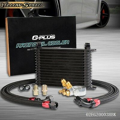 UK GPLUS 15 Row Thermostat Adaptor Engine Racing Oil Cooler Kit For CAR/TRUCK BK