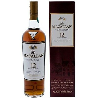 Macallan 12 Year Old Sherry Oak Single Malt Scotch Whisky 750ml 43%