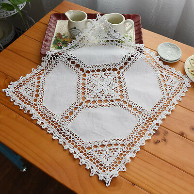 Vintage Style Hand Crochet Insertion Embroidery White Cotton Table Topper