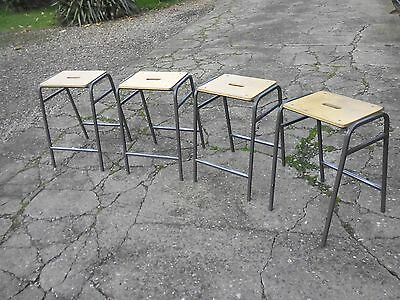 Stool: Set of four vintage metal framed wood topped School science class stools