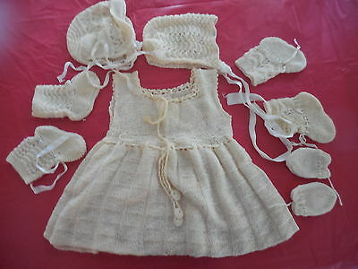 Vintage Knitted Baby Clothes Sleeveless Dress Mittens Booties X 2 & Bonnets X 2