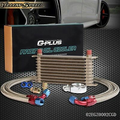 UK 10 Row AN10 Universal Engine Transmission Oil Cooler+ Filter Relocation Kit