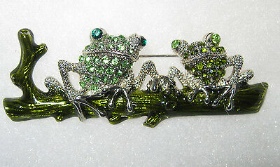 **PAIR OF MURANO ART GLASS GREEN FROGS ON LOG PIN** Lots of Sparkle!!