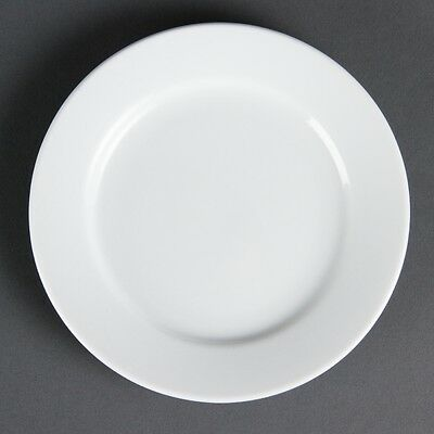 12X Olympia Whiteware Wide Rimmed Plates 165mm Supplies Serving Crockery