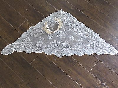 Vintage Antique Chantilly Lace Shawl Scarf & Bow Hat Triangle Estate Wedding
