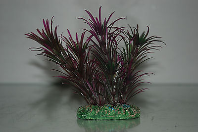 Aquarium Plant Green & Purple Plant with Weighted Base 13 cms