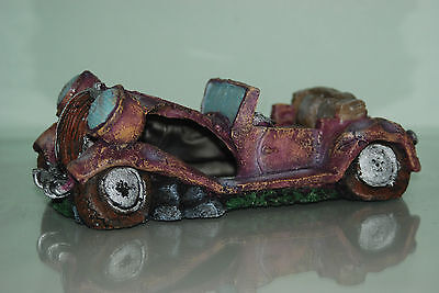 Aquarium Old Vintage Car Decoration With Bubble Exhaust 22 x 10 x 8 cms