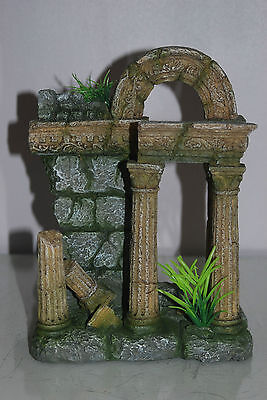Aquarium Large Old Roman Column Arch Ruin Greek Decoration 18 x 11 x 24 cms