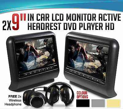 """2x 9"""" In car LCD Monitor Active Headrest DVD Player HDMI Game HD Divx USB SD"""