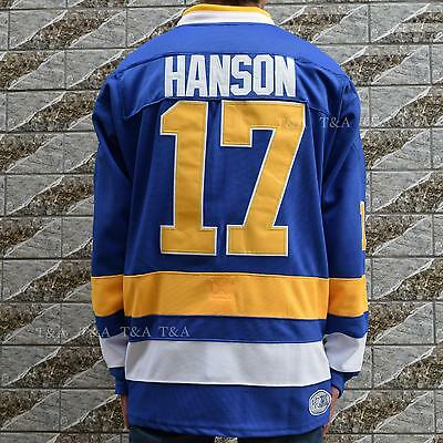 Steve Hanson #17 Charlestown Chiefs Hockey Jersey Movie Stitched BLUE M-3XL