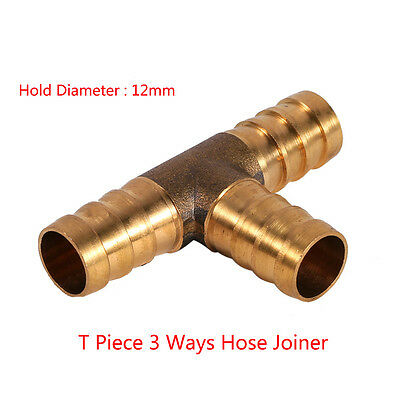 12mm Brass T Piece 3 Way Hose Joiner Connector For Air Fuel Water Gas Oil Tubing