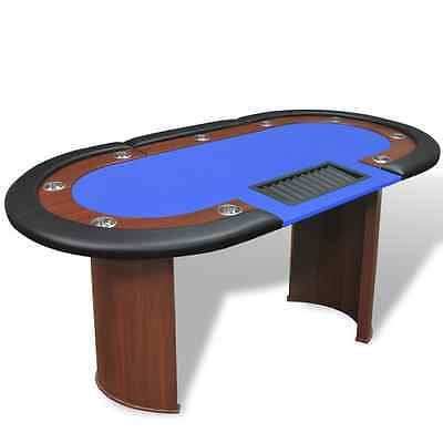 Poker Table 10 Player Dealer Cards Chip Tray Home Casino Game Cup Holder Blue