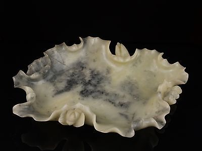 A Large 19th c. 'Lotus' Form Chinese Carved Hardstone Brush-Wash Type Bowl.
