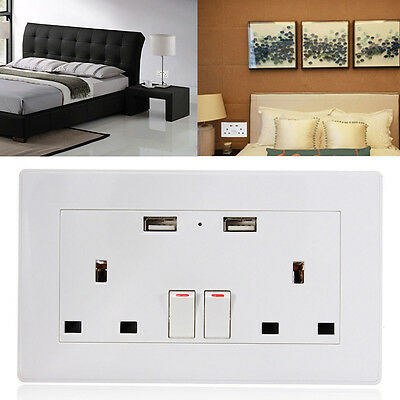 13A White Double Socket USB 2 GANG Electric Wall Plug Sockets With 2 USB Outlets