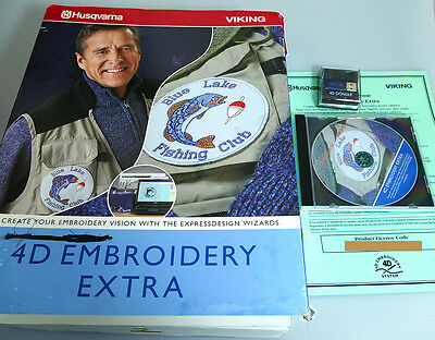 Husqvarna Viking 4D Embroidery Extra software in box with code and dongle