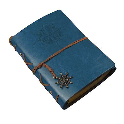 Vintage Classic Retro Leather Journal Travel Notepad Notebook Blank Diary Blue A