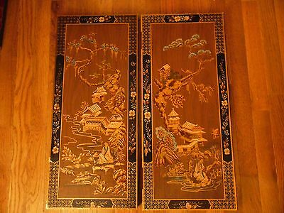 "Used Asian Chinese Lacquered Hand Painted Cabinet Doors 25 1/4""h X 11 1/4""w X 3/"