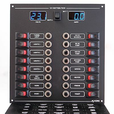 Marine Circuit Breaker & Switch Panel 16 Way with Digital Volts & Amps Meters