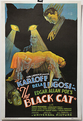 THE BLACK CAT, B. LUGOSI KARLOFF Affiche Cinéma, Movie poster Lithograph reprint