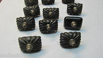 11 vintage Black Decorative Bakelite (?)  knobs pulls