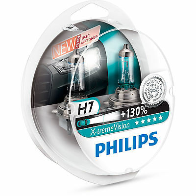 Philips Xtreme Vision +130% More Light H7 Headlight Bulbs TWIN Pack of Bulbs